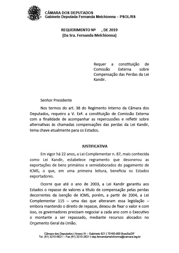 Deputada Fernanda Melchionna requer comissão para debater compensação das perdas da Lei Kandir