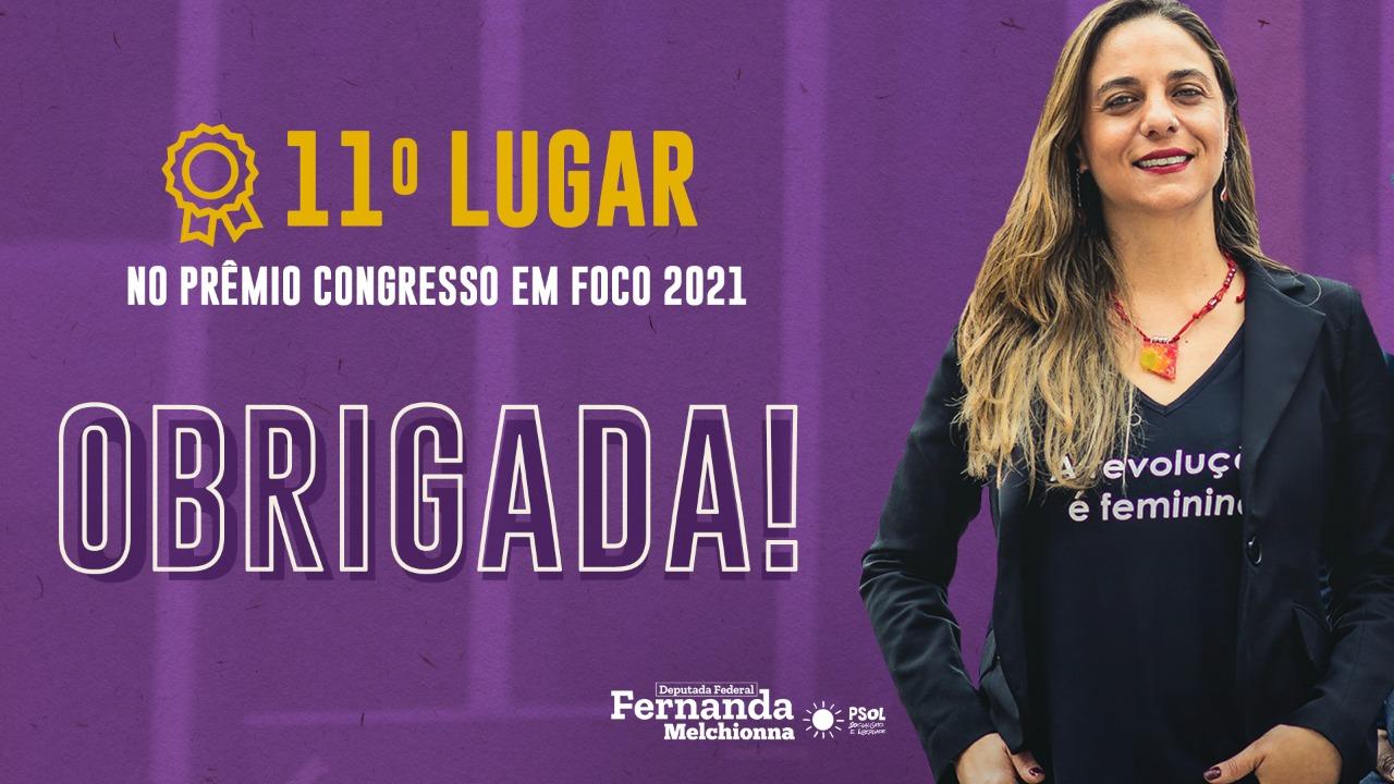Fernanda Melchionna ganha 11º no Prêmio Congresso em Foco 2021